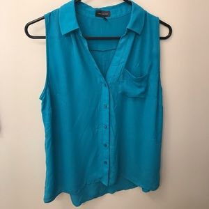 THE LIMITED Button-Down, Sleeveless Teal Top